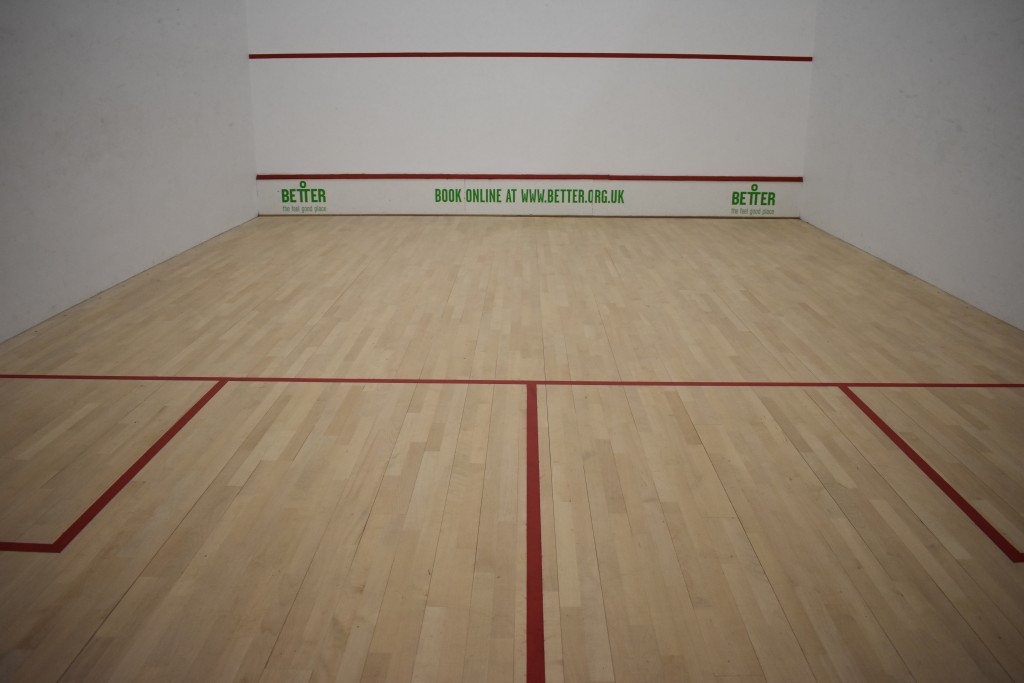 Sobell LC squash court repairs and sanding