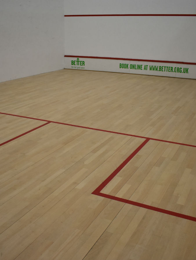 Squash court after sand and repairs