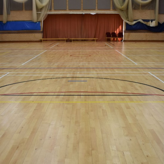 Finished Junckers school sports hall floor