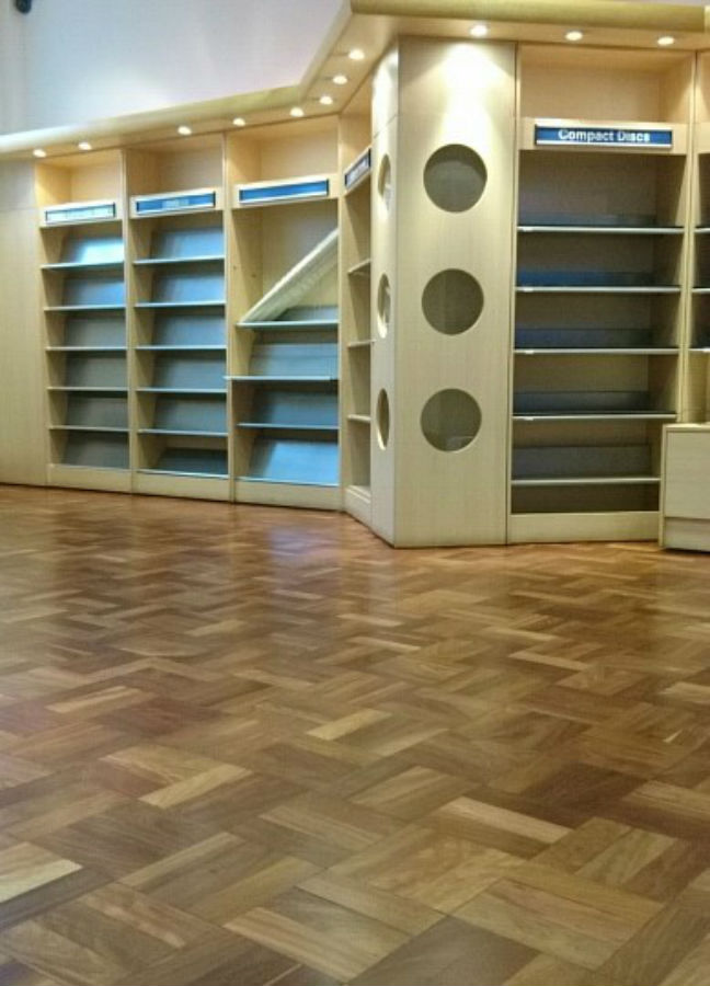 After sand of wood block library floor