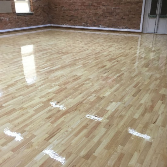 After sanding to sports hall