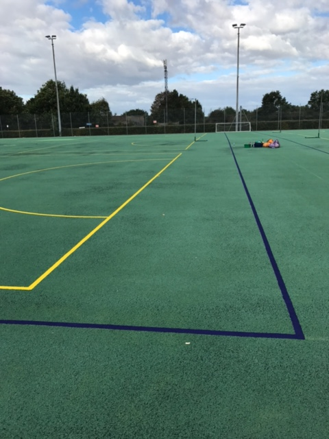 Line markings to exterior court markings