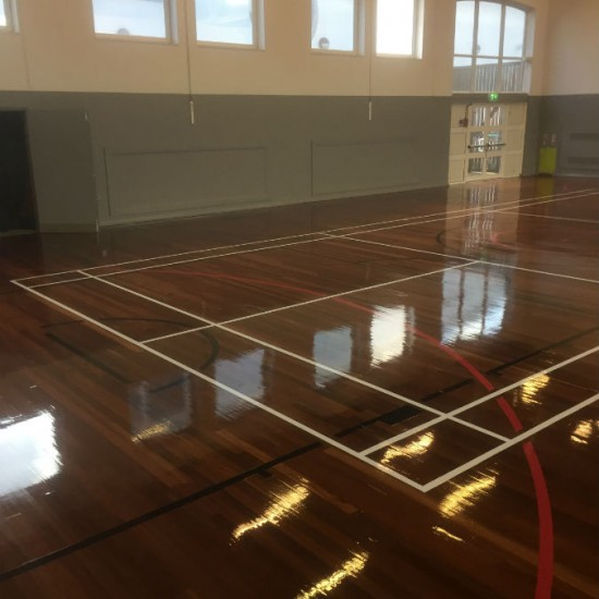 After sand and court markings fitness centre