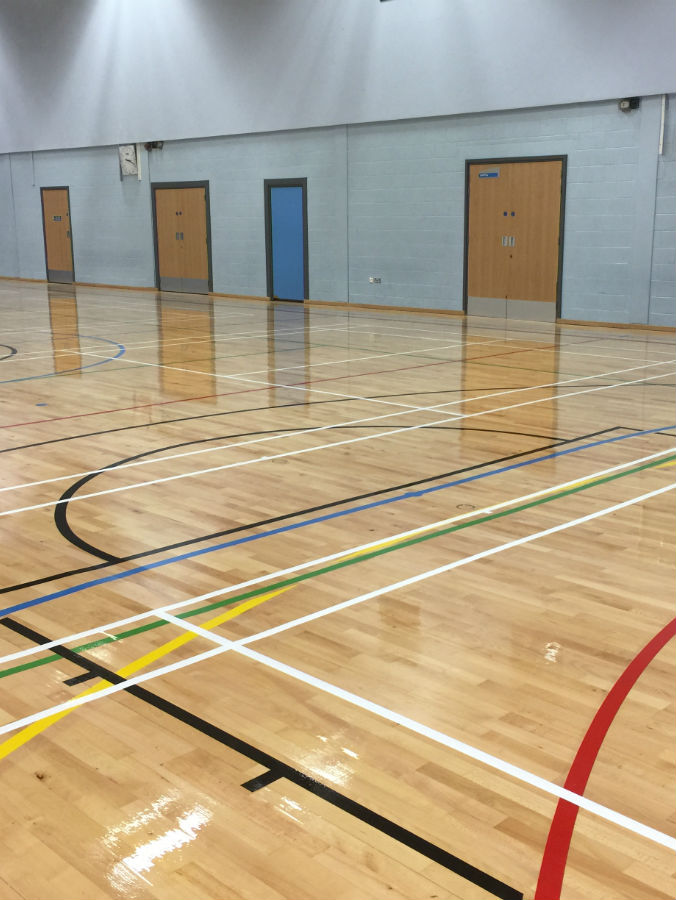 After sanding sports hall
