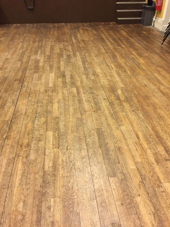 Before sand of village hall Junckers floor