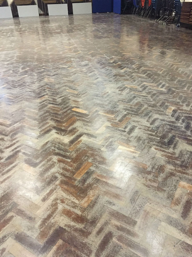 College main hall floor before sand